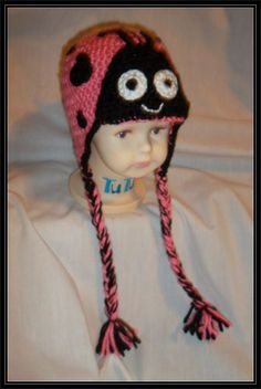 Crocheted Valentine Ladybug hat with earflaps - Ready to ship