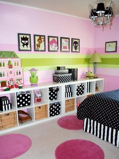 Girls' Bedroom With Open Storage Shelves and Polka Dot Accents