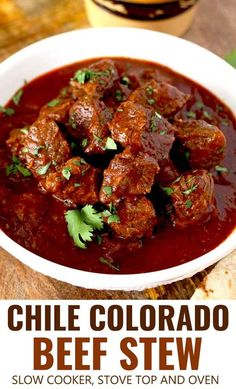 This Chile Colorado beef stew is rich, hearty and lip-smacking good! Beef stew m. This Chile Colorado beef stew is rich, hearty and lip-smacking good! Beef stew meat simmered in a Mexican style red Stew Meat Recipes, Beef Recipes For Dinner, Chili Recipes, Mexican Food Recipes, Elk Recipes, Red Chili Recipe Mexican, Chili Con Carne Recipe Best, Authentic Mexican Chili Recipe, Meat Recipes