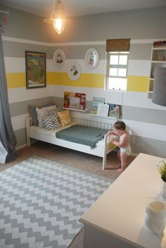 Yellow and gray striped paint, kids nursery, modern kids room.