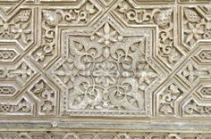 closeup of a plaster wall in the Alhambra Palace, Granada, Andalusia, Spain photo