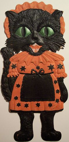vintage german halloween cat with apron diecut photo - German Halloween Decorations