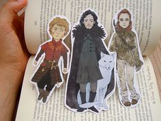 Game of Thrones bookmarks: Tyrion Lannister Jon Snow (with Ghost) and Ygritte! | A Song of Ice and Fire Asoiaf Geek gift Fantasy art. (2.50 GBP) by SillyLunastorta