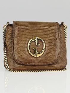 Gucci Brown Lizard 1973 Chain Small Shoulder Bag
