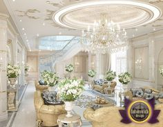 Villa design reflects the atmosphere of elegance and respectability. Impressive luxury décor of the hall and the living room. Gold in combination with light tones fills the atmosphere of the house with festive notes. This luxury version...