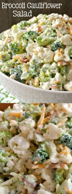 This Deliciously Sweet Broccoli Cauliflower Salad from Easy Peasy Pleasy is going to be your new quick and easy go-to recipe for the rest of the summer! It's a little bit sweet and a little bit salty from the bacon — and it is that good you guys!: