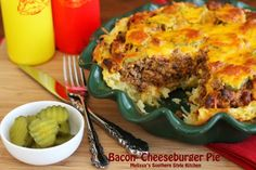 All of the familiar flavors we love are in this *Bacon-Cheeseburger Pie* with a golden shredded potato crust. - Melissa's Southern Style Kitchen