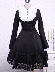 Black Cotton Lace Long Sleeves Ruffle Gothic Lolita Dress