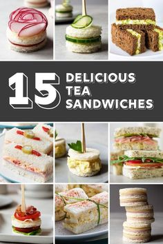 Looking for tea sandwich recipes for your next tea party? If youre looking for f… Looking for tea sandwich recipes for your next tea party? If youre looking for finger sandwiches that are adorable and tasty, Ive got them right here! Party Finger Foods, Snacks Für Party, Appetizers For Party, Tea Snacks, Tea Party Foods, Tea Party Menu, Finger Food Recipes, Food For Tea Party, Mini Sandwich Appetizers
