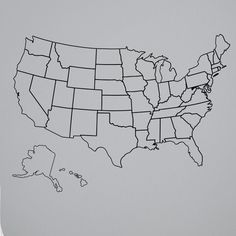 outlined united states map with fill in state packs
