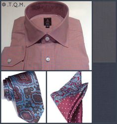 SHIRT/TIE COMBO: Robert Talbott(Shirt)-Zenga(Tie)-Joseph Abboud(Pocket Square)-Suggested Suit Colors(Gray & Teal Blue)-Suit Colors Right Side