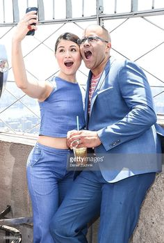 Tony Nominees Phillipa Soo and Christopher Jackson visit the Empire State Building at The Empire State Building on June 7, 2016 in New York City.