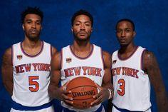 Knicks veteran guards Courtney Lee, Derrick Rose, and Brandon Jennings