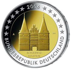 N♡T.2 euro: Holstentor in Lübeck (Schleswig-Holstein).Country:	Germany  Mintage year:	2006 Issue date:	03.02.2006 Face value:	2 euro Diameter:	25.75 mm Weight:	8.50 g Alloy:	Bimetal: CuNi, nordic gold Quality:	Proof, BU, UNC Mintage:	30 mil. pc