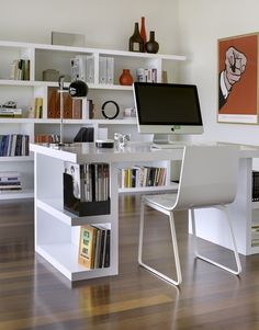 love the book shelves attached to the desk!