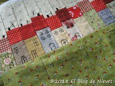 El Blog de Nieves. Labores y Punto de cruz: Funda para bastidores houses House Quilt Block, House Quilts, Barn Quilts, Quilt Blocks, Black And White Quilts, Quilt Border, Mini Quilts, Quilt Tutorials, Quilting Designs