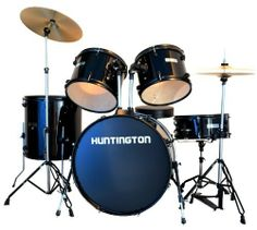 Huntington DRM500-BK 5 Piece Drum Set Throne, Black by Huntington. $273.67. Everything you need to rock in one box. The Huntington DRM500 5 piece drum set is the ultimate starter full size drum set and is compatible with all types of drum accessories. The drum set includes the following features: 8 ply poplar shells, anodized black metal hoops and anodized black metal hardware with chrome accents and double braced stands. Accessories included: 22 inch kick dru...