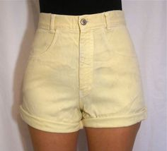 High Waisted Yellow Denim Shorts by PrudenceandAustere on Etsy, $25.00