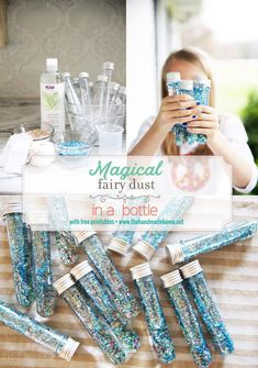 diy fairy dust in a bottle - the handmade home .- diy feenstaub in einer flasche – das handgefertigte zuhause Diy fairy dust in a bottle – the handmade home dust - 1st Birthday Party Decorations, Fairy Birthday Party, Garden Birthday, Birthday Parties, Party Garden, 7th Birthday, Birthday Ideas, Handmade Home, Ballon Party