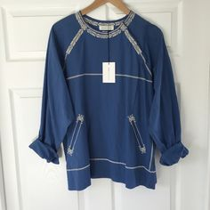 Isabel Marant Ètoile Ryker Top From the current Spring 2016 season, never been worn, tags attached. Just didn't fit me right and I missed the return window. Gorgeous blue 100% cotton with embroidery, snap detail at the neck and long sleeves with button cuffs. Isabel Marant Tops Blouses