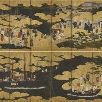 Screens depicting Europeans in Japan, an Important Cultural Property (Azuchi-Momoyama Period-Edo Period 16th century)  | PRIVATE COLLECTION