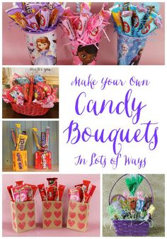 Miss Kopy Kat blog: Make Candy Bouquets Lots of Ways in different containers like baskets, bags, drinking cups, coffee cups, boxes, etc.