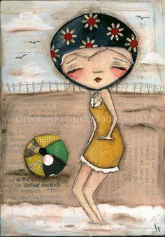 "Print of my Original Folk Art Nostalgic Painting ""Beach Ball Beauty""  ©dianeduda/dudadaze"