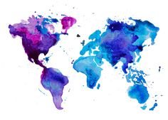 Watercolor World Map Blue