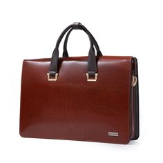 Men Genuine Cow Leather 15'' Laptop Briefcase Work Office Documents Satchel Bag #teemzone #BriefcaseAttache