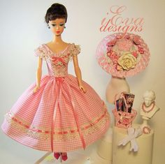 Vintage Girl Silkstone Repro Barbie Doll Dress Outfit Hat Clothes OOAK handmade #handmadevintagerepro