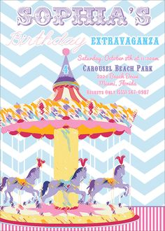 carousel birthday party, zoo party, circus party, carousel invites, carousel birthday invitations via Party Box Design, chevron, girl party invites