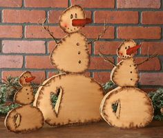 Primitive Snowman - Group of 3