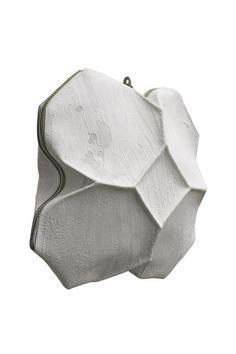 Kagari Yusuke - White Leather & Putty Geometric Bag  | unconventional