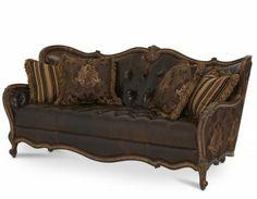 Leather/Fabric Wood Trim Tufted Sofa - Group2/Option 1
