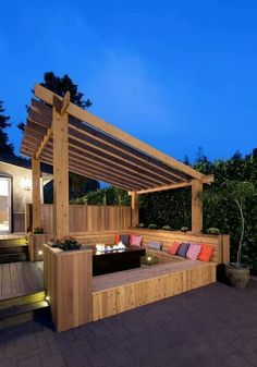 Patio idea ours would not be so elaborate, but the benches would be great!: