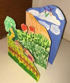 Landscapes Understanding space – foreground, middle ground, background as well as overlapping can be quite challenging for elementary kids. This assignment aimed at demystifying the concepts through a f… Landscape Art Lessons, 3d Landscape, Fantasy Landscape, 2nd Grade Art, School Art Projects, 3d Art Projects, Middle School Art, High School, Kindergarten Art