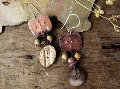 Dusty - vintage button earrings - mismatched Victorian assemblage - primitive rustic romantic - eco friendly jewelry