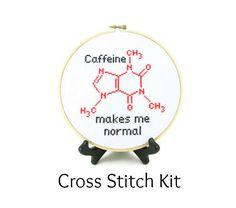 Koffein Molekül Cross Stitch KIT von ShopDeliciousThreads auf Etsy