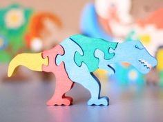 Colorful Wood/Wooden Puzzle Dinosaur Tyrannosaur . Handmade - Ready to Ship. $10.00, via Etsy.