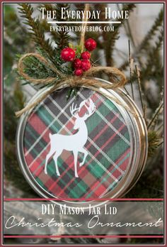 DIY Mason Jar Lid Christmas Ornament | The Everyday Home | www.everydayhomeblog.com