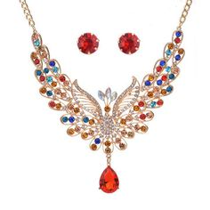 54a5639e914c ADOLPH Jewelry for Women Vintage Accessories Palace Colorful Crystal  Peacock Jewelry Set Water Droplets Necklace and Earrings