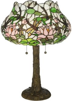 "Meyda 22.5""H Dragonfly Flower Table Lamp"