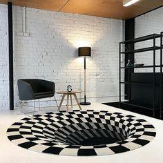 US$ 46.98 - Vortex Illusion Rug - m.57diy.com Living Room Carpet, Living Room Bedroom, Bedroom Decor, Design Bedroom, New Carpet, Rugs On Carpet, Black Carpet, 3d Design, Custom Design