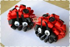 Set of Two Ladybug Loopy Puff Bows Red Black Clip OOAK.