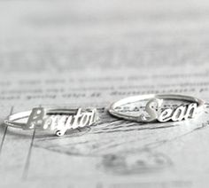 Initial monogram name ring by silver