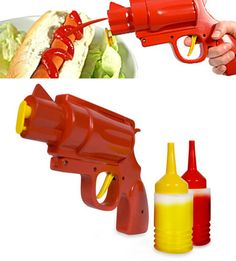 Condiment Gun with ketchup and mustard ammo...this SCREAMS Ryan!