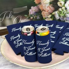 Gift these useful favors to your friends and family to use during your wedding and then take home to remember your wedding day every time they enjoy a cold beverage. Made of high quality, machine washable neoprene, these collapsible can sleeves fit comfortably in a back pocket and will last longer than sponge foam beer can coolers. Wedding Koozies, Wedding Reception, Wedding Day, Personalized Cocktail Napkins, Small Thank You Gift, Bar Ideas, Coolers, Drink Sleeves, Wedding Designs