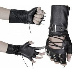Men & Women Black Faux Leather Spike Studded Tipless Punk Biker Gloves SKU-71102065