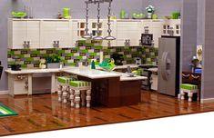 modern apartment made of lego blocks - kitchen. Built by Legohaulic. | via housology.com