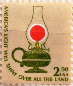 US postage stamp, 2 dollars.  America's Light Will Shine Over All the Land.  Issued 16 Nov 1978 in NYC. Scott catalog 1611.